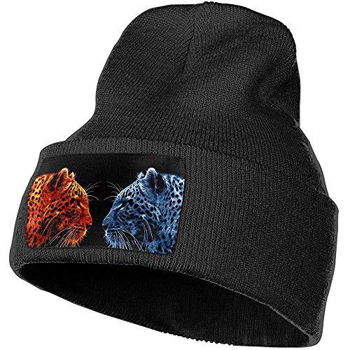 K.e.n Unisex Beanie Cap, Fire Tiger und Ice Tiger Herbst Winter Slouchy Cuffed Strickmütze, warme Baggy Chunky Skully Hüte