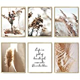 Nature Wall Art Prints Set of 6 Canvas Art Wall Decor Botanical Print Pictures Reed Dried Flower Plant Poster Print Home Decorations for Living Room Wall Decor (8'x10' UNFRAMED)