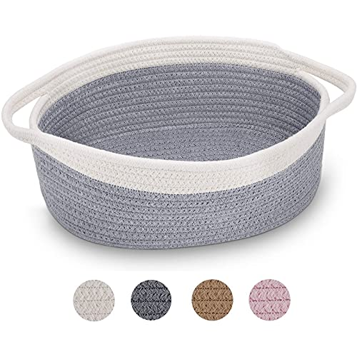 """ABenkle Small Basket,12""""x 8"""" x 5"""" Shelf Storage Baskets, Small Cute Rope Basket Room Storage Chest Box, Cat Basket, Empty Gift Basket with Handles (Gray)"""
