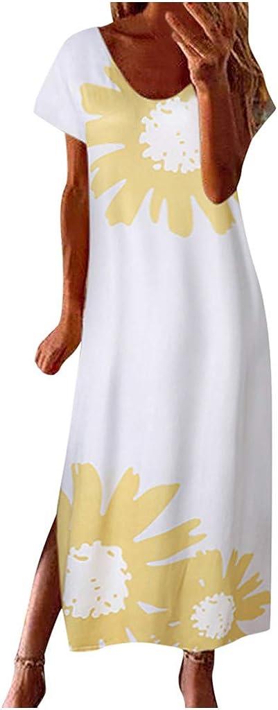 Women's Sunflower Print Summer Sleeveless Plain Maxi Loose Ranking Gorgeous TOP8 Dress