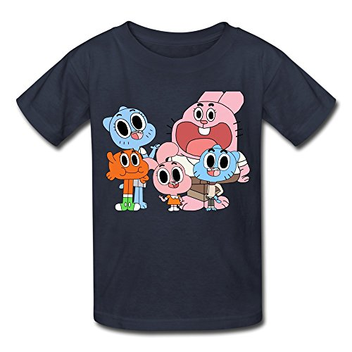 Kid's Funny The Amazing World Of Gumball T-shirts Size L Navy By Mjensen