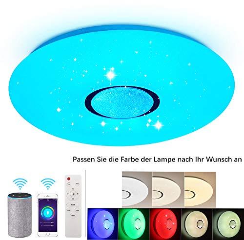 Natsen 24W Deckenleuchte mit WLAN/Alexa Funktion LED RGB Deckenlampe dimmbar Farbwechsel moderne Lampe mit Fernbedienung/APP/Sprachsteuerung (41 * 41 * 7cm) [Energieklasse A++]