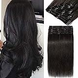 40cm - Extensiones de Clip de Pelo Natural 8 Piezas 18 Clips 90g Cabello Humano 100% Remy Human Hair - 1B# Negro Natural