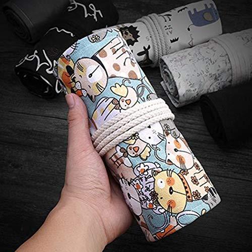 ACHICOO Federmäppchen aus Segeltuch, 12 / 24 / 36 / 48 / 72 Löcher, großes Fassungsvermögen 72 Löcher - süße Katze