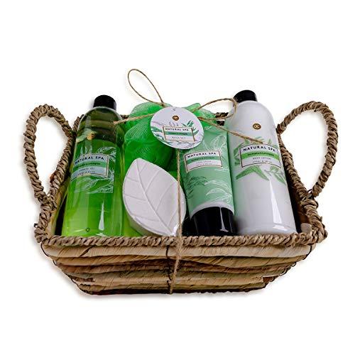 accentra Geschenkset Natural Spa im Seegraskorb Bade-, SPA und Dusch Set Eucalyptus und Lemongrass Duft - 6-teiliges Geschenk Set in dekorativem Korb aus Seegras