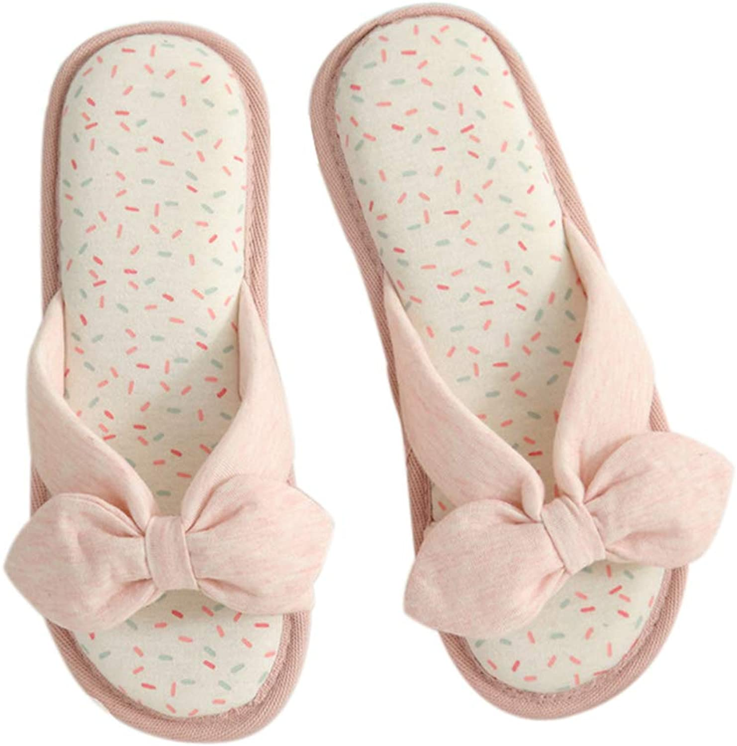 Autumn Cotton Slippers shoes Open Toe Women Bow Slides Cute Non-Slip Breathable Home House Indoor Flats