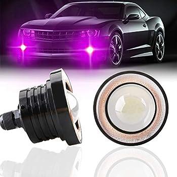 KaiDengZhe 2PCS Super Bright 2.5  Projector Universal LED Fog Light 12V 10W Pink COB Halo Angel Eye Rings For Moto Headlight Car Daytime Running Light DRL Driving Light Fog Light Bulb