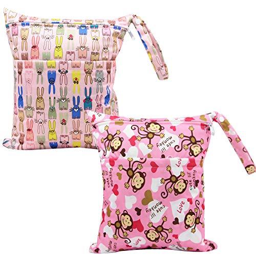 Snyemio Bolsa de Pañales de Mojado y Seco Impermeable Bolsas de Pañales Lavable Reutilizable para Mamá Bebes