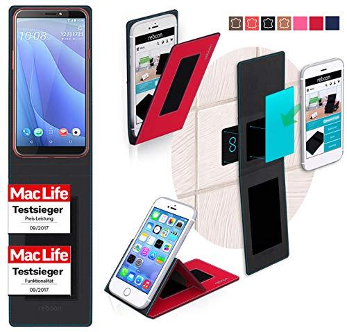 reboon Hülle für HTC Desire 12S Tasche Cover Case Bumper | Rot | Testsieger