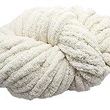 Rice White Chunky Knit Chenille Yarn,Chunky Chenille Yarn,Jumbo Chenille Yarn,Hand Knit Blanket Yarn Arm Knit Yarn Baby Yarn,250g