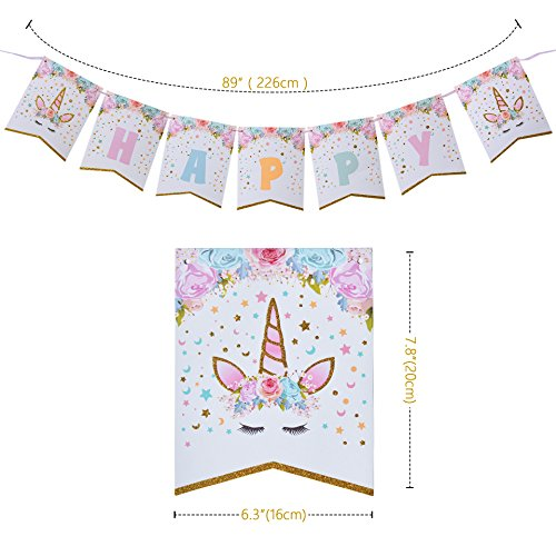 AMZTM Happy Birthday Bunting Banner Rainbow Unicorn Themed Party Favors Decorations for Cute Fantasy Fairy Girls Birthday Party Supplies