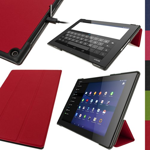 iGadgitz Premium Red PU Leather Smart Cover Case for Sony Xperia Z2 Tablet SGP511 10.1' with Auto Sleep/Wake + Multi-Angle Viewing Stand + Screen Protector