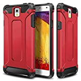 Galaxy Note 3 Case,Wollony Rugged Hybrid Dual Layer Hard Shell Armor Protective Back Case Shockproof Cover for Galaxy Note 3 Case - Slim Fit - Heavy Duty - Impact Resistant Bumper(Red)