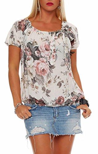 Malito Damen Blusenshirt mit Blumen Print | Oberteil mit Schleife | Hemdbluse - Tunika - modern 3443 (Creme)