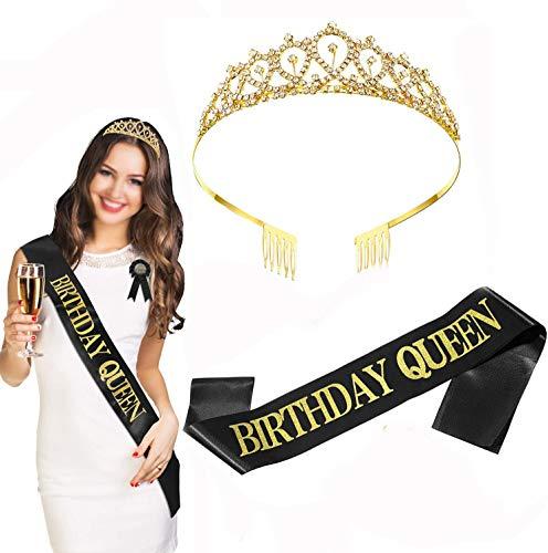 Diadema dorada con purpurina para cumpleaños, corona con pedrería, diadema con peine, color negro y dorado, ideal para decoración de fiestas de cumpleaños, regalos para niñas y mujeres