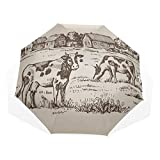 Umbrella Fold in Hand Drawn Vintage Cow Field Throw Blanket Soft WA Windproof Cool Travel Umbrella Rain & Wind Resistant Compact and Lightweight for Business and Travels