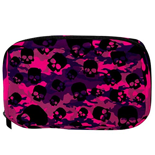 TIZORAX Cosmetic Bags Skull On Rose Camouflage Handy Toiletry Travel Bag Oragniser Makeup Pouch for Women Girls