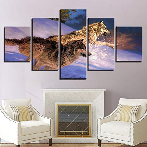 GHTAWXJ HD Canvas Modern Living Room Home Decor Impreso 5 Panel Wolf Snow Landscape Pictures Wall Art Poster Painting
