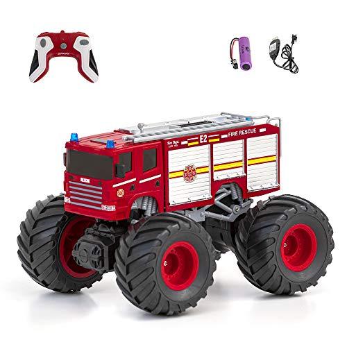 Diawell Coche teledirigido monstruo truck con sonido, bomberos, todoterreno, todoterreno, 2,4 GHz, con baterías recargables como regalo para niños, niños y niñas