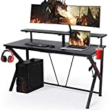 "LYNSLIM Black Computer Gaming Desks - 55"" W x 23"" D Computer Table with Display Support Plate Cup Holder and Headphone Hook Large Surface E-Sport Gamer Workstation Desk Table for Home Office PC"