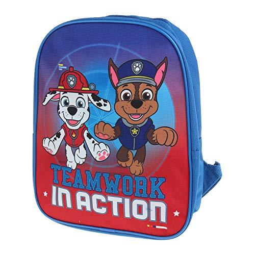 Mochila infantil para niñas y niños de la Patrulla Canina Azul Equipo en acción. talla única