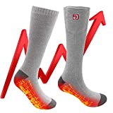 Men Women Heated Socks Warm Thermal Socks Rechargeable Battery Operated Electric Socks Foot Warmers Cozy Crew Sox Works up 6 Hours (Gray-Heat on Foot Bottom) calcetines con calefacción