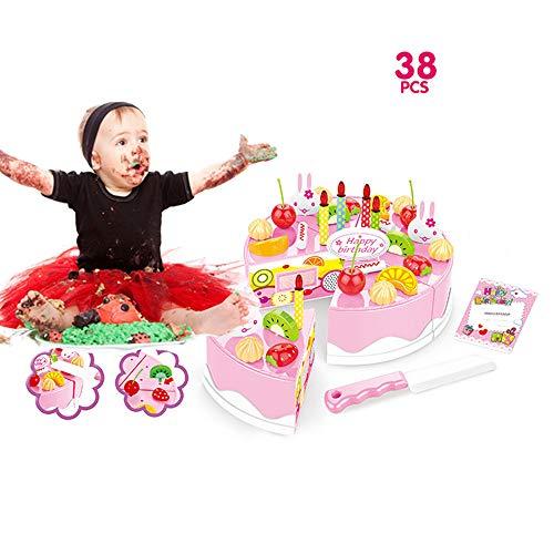 lustiges Spielzeug, ALIKEEY 38 Stück vorgeben Rollenspiel Küche Spielzeug Happy Birthday Kuchen Essen Schneiden Set Kinder