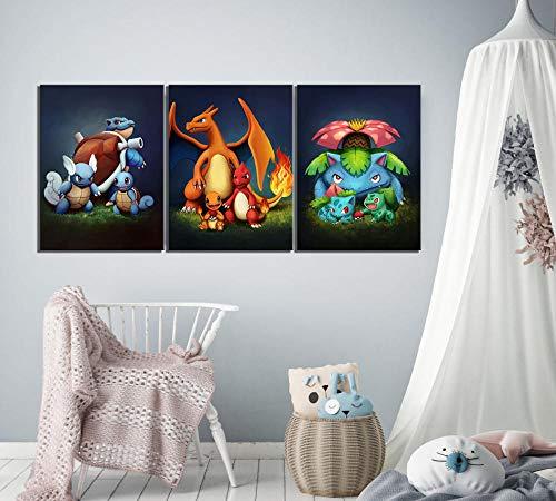 LKLKK Cuadro en Lienzo Impreso decoración del hogar Pokemon Wall Artwork Picture Poster Living Room 40x60cmx3 (sin Montura)