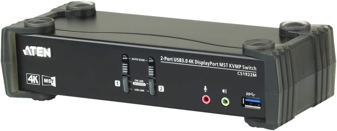 ATEN 2-Port USB 3.0 4K DisplayPort MST KVMP Switch (Cables Included)-TAA Compliant