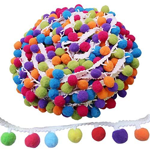 Sweieoni Pompon Borte Rainbow Pom Bommelborte Bommelband Regenbogen Bommel Fringe Pompoms Bunt für Näharbeit Nähen Basteln Dekorieren 6 m