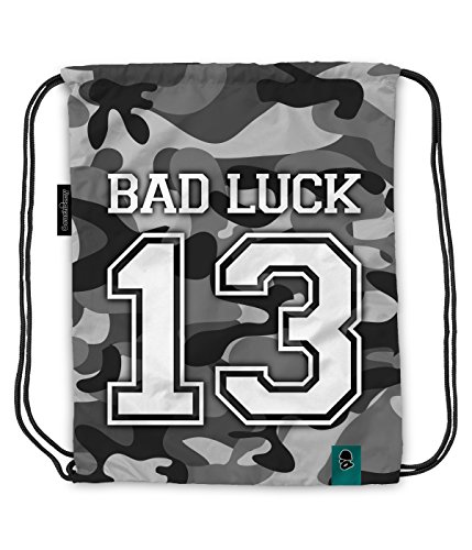 Coucharmy Sportbeutel Jahn2 Bad Luck 13 Camouflage Camo Army Rucksack Sport Beutel Gymbag Gymsack Stoffbeutel Rucksack Hipster Tasche vers. Design (ca. 32 x 39 cm) (Bad Luck URBN Camo)
