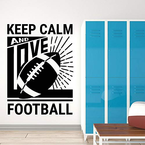 Calcomanías de vinilo para pared mantener la calma y amar la pelota de fútbol deportes pegatinas ventana vidrio mural dormitorio estadio decoración de interiores
