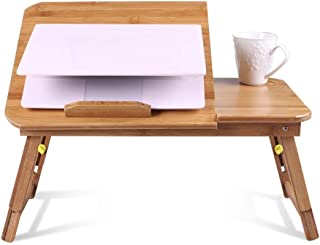 Table Portable Standing Desk Solid Wood Multifunction Collapsible Laptop Stand Reading Bookshelf Height Adjustable Mobile ...
