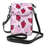 Bokueay Patrón de fresa que imprime el pequeño monedero del teléfono celular, pequeño bolso bandolera Mini bolso de hombro del bolso del teléfono celular