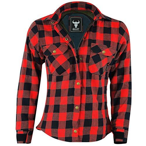 BULLDT Damen Motorradhemd Holzfäller-Look Hemd mit Protektoren, Rot, 40/L