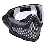 ATAIRSOFT Airsoft 2 Modes Tactical Safety Protective Full Face Mask Anti-Fog Goggles Set with 3 Interchangable Lens Black