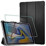 AROYI Hülle für Samsung Galaxy Tab A 10.5 2018 & Panzerglas, Ultra Schlank Schutzhülle Hochwertiges PU mit Standfunktion Glas Panzerfolie Samsung SM-T590 / SM-T595 Tab A 10.5 2018 Zoll, Schwarz