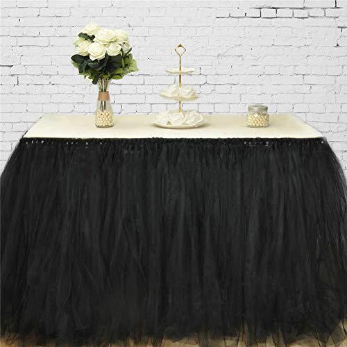 DishyKooker Einfarbig Tisch Rock Dekoration für Hotel Hochzeit Weihnachtsfeier 80cmx91,5 cm Schwarz Haushalt
