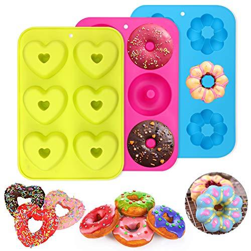 PHOGARY Packung mit 3 Stück Silikon Donutformen, 6 Hohlräume Donut-Backform Antihaft-Backblech, 260℃ Hitzebeständig, für Kuchen, Kekse, Bagels, Muffins (Runde, Blumen und Herz)