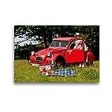 CALVENDO Toile Textile de qualité supérieure 45 cm x 30 cm, Pique-Nique avec Canard | Tableau sur Toile, Impression sur Toile sur châssis – Citroën 2CV – Canard (Technologie Technologie