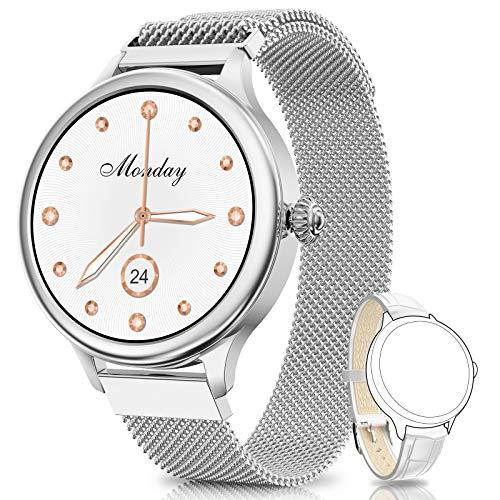 NAIXUES Smartwatch, Reloj Inteligente para Mujer, Reloj Deportivo Impermeable IP67 con Monitor de Sueño Pulsómetro Podómetro Notifica Whatsapp, Pulsera Actividad Inteligente para Android iOS (Plata)