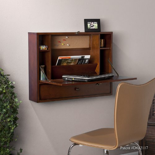 SEI Furniture Willingham Wall Mount Folding Laptop Desk, Mahogany