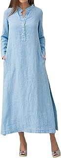 فساتين ماكسي كاجوال للنساء طويلة الاكمام بازرار امامية من القطن مع جيوب من روماتشي