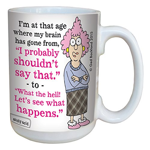 Hilarious Aunty Acid See What Happens Large Coffee Mug, 15-Ounce Cup LM46599 - Funny Retirement Over the Hill Gag Gifts, Old Age - Tree-Free Greetings