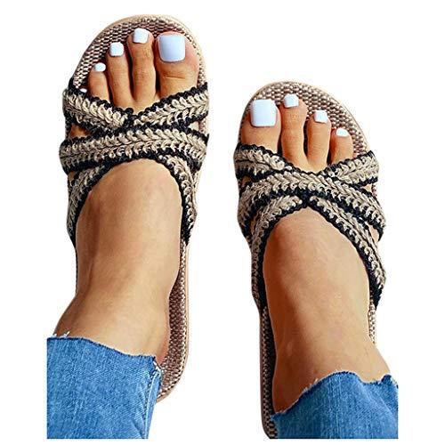 Hosamtel Slippers for Women Open Toe Bohemia Bowknot Flax Linen Flip Flops Beach Shoes Sandals Slipper Home Furnishing Shoes (US:8.5, 1-Black)