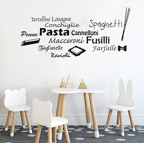 Adesivi muraliPasta decalcomania della cucina italiana Decorazioni per adesivi cucina Italia Grafica Decor wall art Design Maccaroni Penne Fusilli Murales 25x57cm