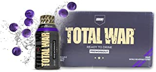 Redcon1 - Total War RTD - Ready to Drink Liquid Preworkout - Case of 12 - Amazing Flavors, Clean Energy, Caffeine, Beta Al...
