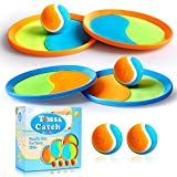 Toss and Catch Ball Set Beach Games - Upgraded Paddle Ball Catch Set Durable Paddle Toss and Catch Ball Beach Toys Outdoor/Indoor Catch Ball for Kids, Gifts for Family (4 Paddles & 4 Balls & 1 Bag)
