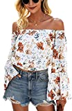 Angashion Women's Tops Sexy Off Shoulder Floral Flare Long Sleeves Printed Cropped Shirt Blouses White Orange M