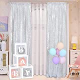 Blxsif Silver Sequin Backdrop Curtains - 2 Panels 2.1FTx8FT Glitter Silver Curtains Backdrop Party Wedding Baby Shower Sparkle Photography Background